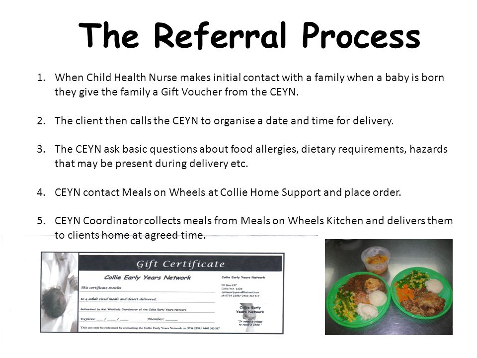 The Referral Process 1.When Child Health Nurse makes initial contact with a family when a baby is born they give the family a Gift Voucher from the CEYN.
