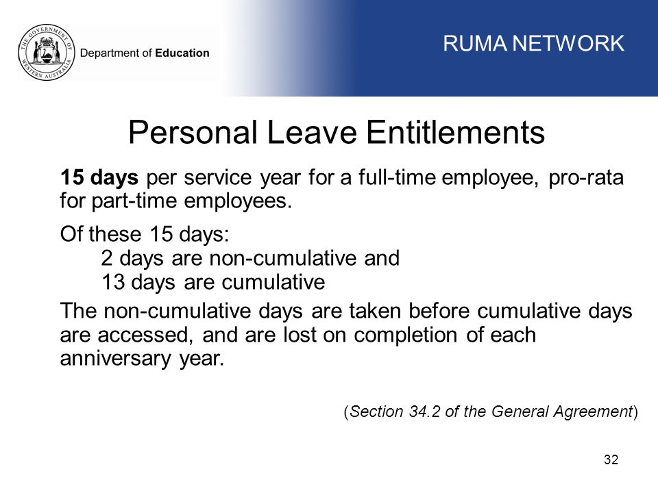 WORKFORCE MANAGEMENT 32 WORKFORCE MANAGEMENT Personal Leave Entitlements 15 days per service year for a full-time employee, pro-rata for part-time employees.