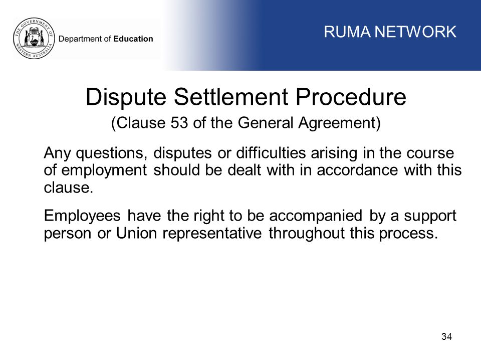 WORKFORCE MANAGEMENT 34 WORKFORCE MANAGEMENT Dispute Settlement Procedure (Clause 53 of the General Agreement) Any questions, disputes or difficulties arising in the course of employment should be dealt with in accordance with this clause.
