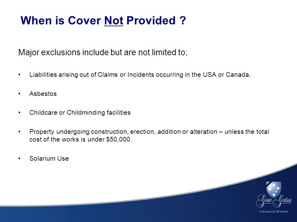 When is Cover Not Provided .