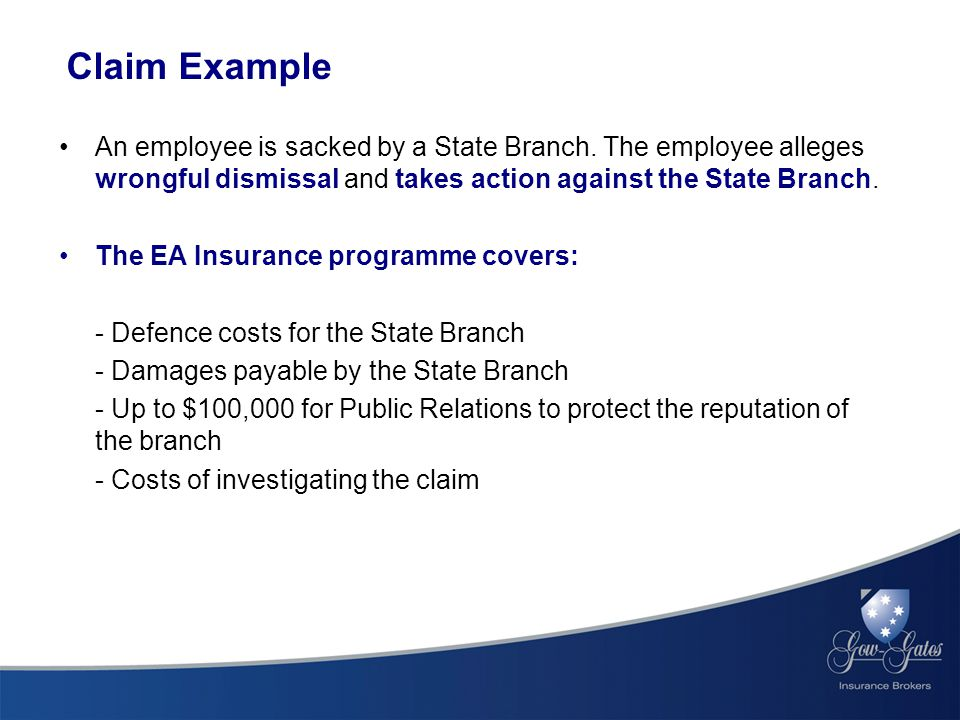 Claim Example An employee is sacked by a State Branch.