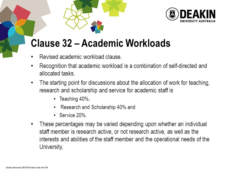Clause 32 – Academic Workloads Revised academic workload clause.
