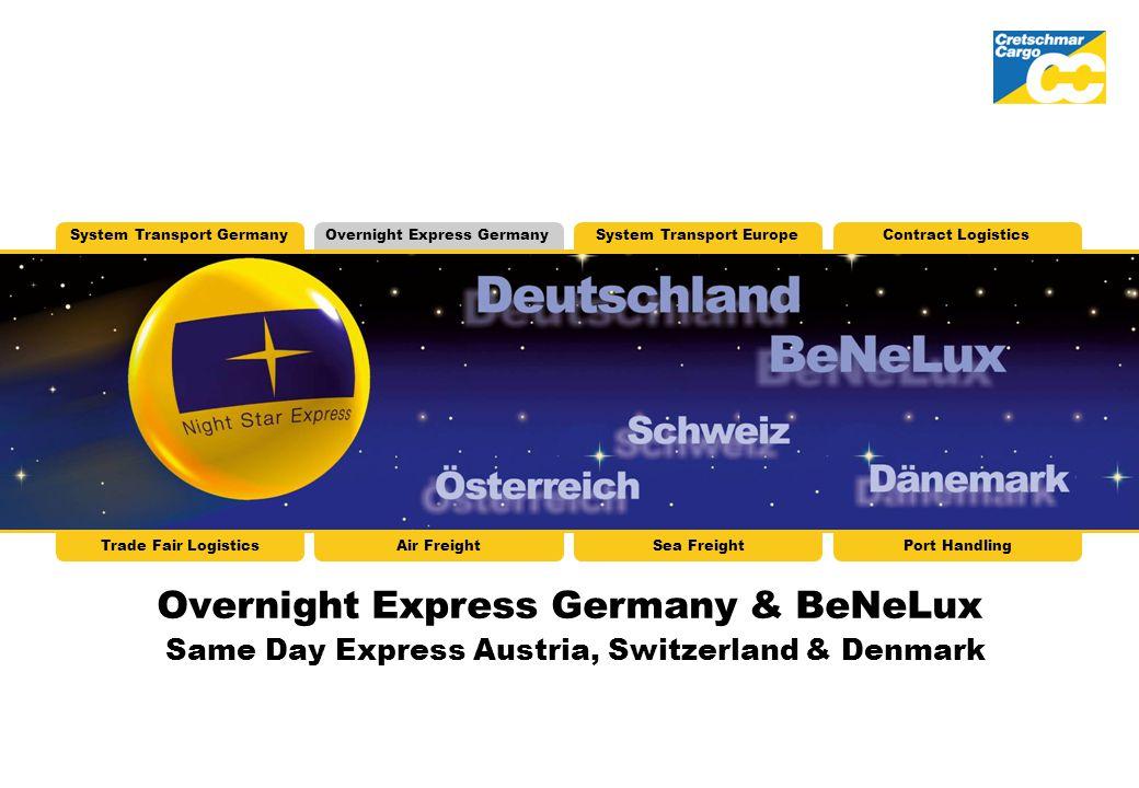 Overnight Express Germany & BeNeLux Same Day Express Austria, Switzerland & Denmark System Transport GermanyOvernight Express GermanySystem Transport