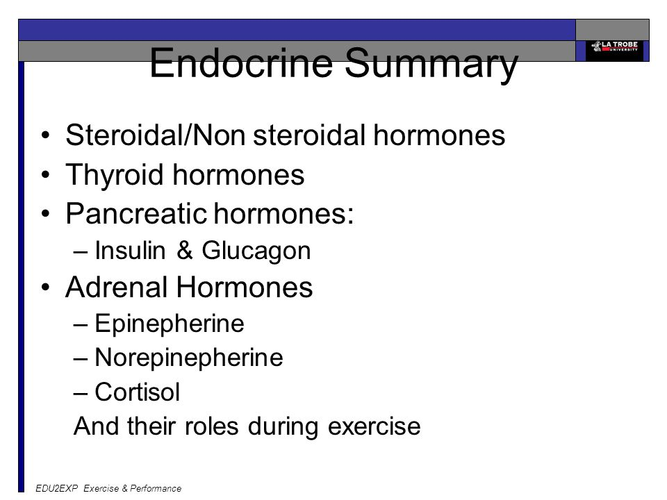 EDU2EXP Exercise & Performance Endocrine Summary Steroidal/Non steroidal hormones Thyroid hormones Pancreatic hormones: –Insulin & Glucagon Adrenal Hormones –Epinepherine –Norepinepherine –Cortisol And their roles during exercise