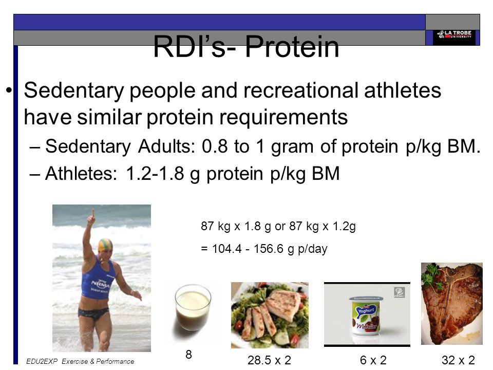 EDU2EXP Exercise & Performance Daily intake Normal people 1500—2500 calories Athletes 1400 (gymnasts) – 6000 (TDF cyclists) Carbohydrate= 55-60% Fats
