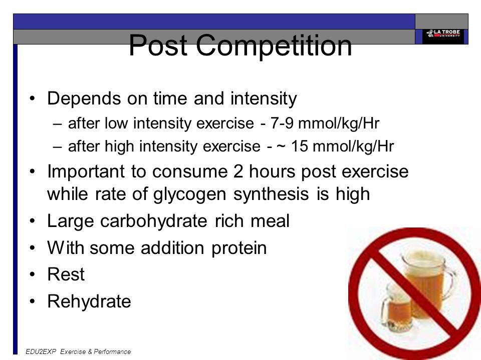 EDU2EXP Exercise & Performance CHO ingestion every 20 min CHO ingestion late in exercise No CHO ingestion 65-75% VO2max