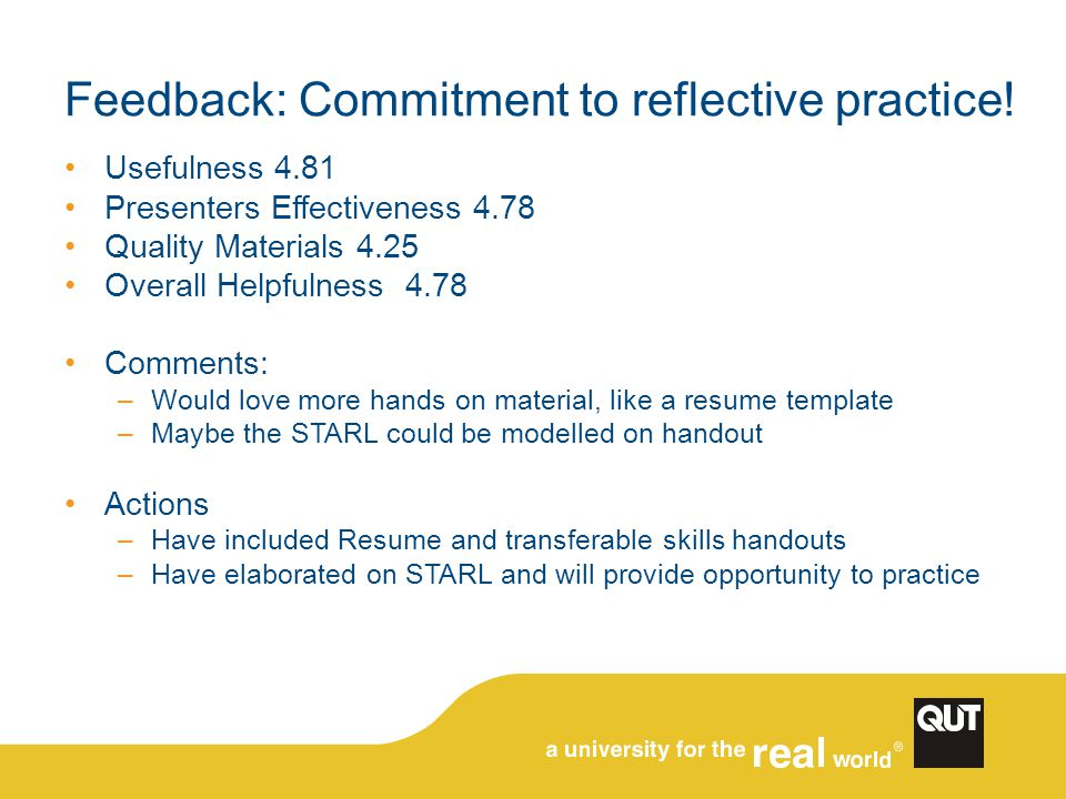 Feedback: Commitment to reflective practice! Usefulness 4.81 Presenters Effectiveness 4.78 Quality Materials 4.25 Overall Helpfulness 4.78 Comments: –