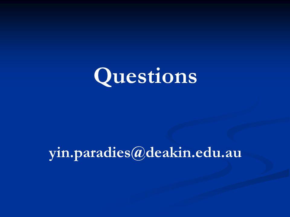 Questions yin.paradies@deakin.edu.au