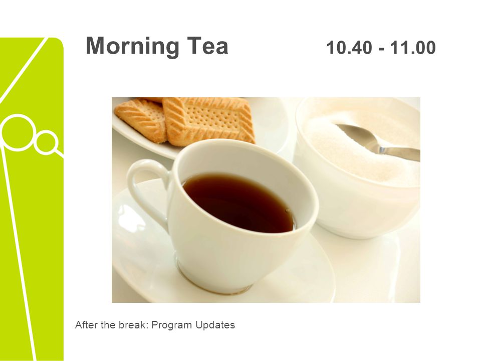 After the break: Program Updates Morning Tea 10.40 - 11.00