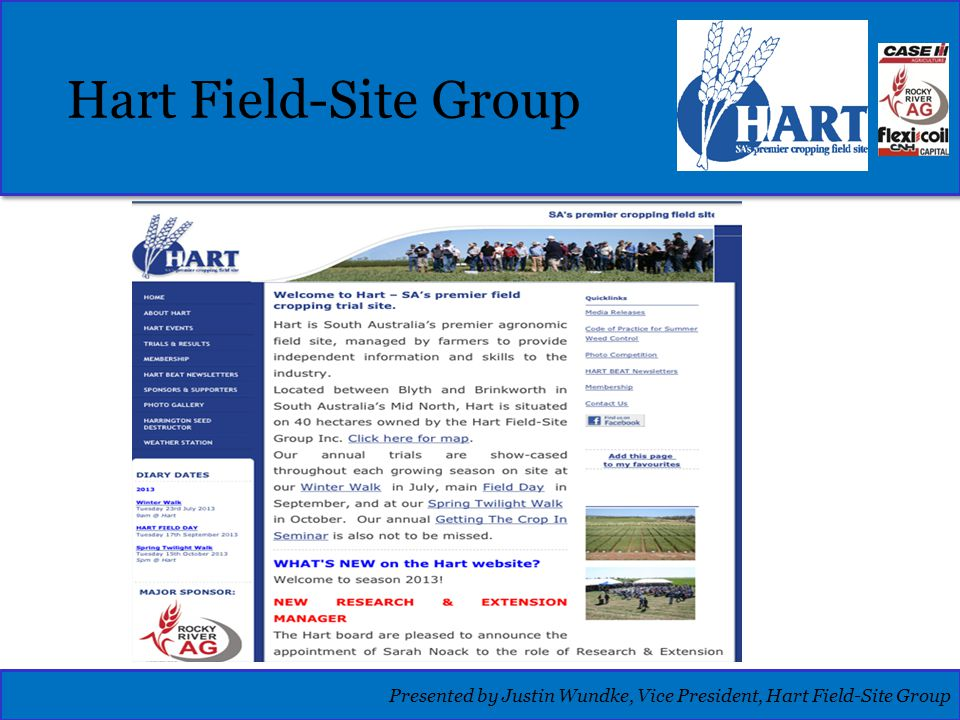 Hart Field-Site Group Presented by Justin Wundke, Vice President, Hart Field-Site Group