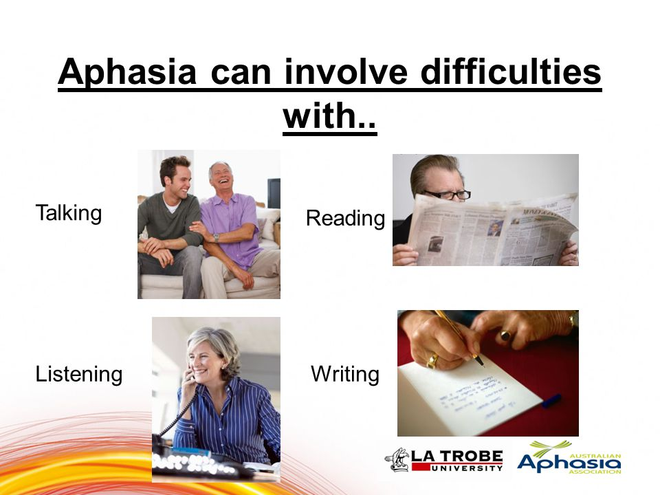 6 Aphasia can involve difficulties with.. Talking Reading ListeningWriting 66