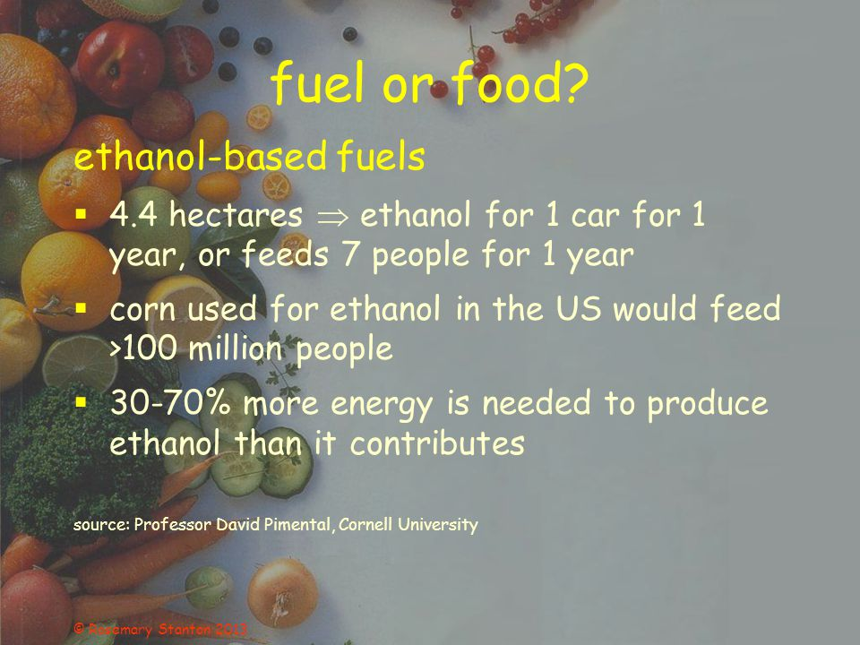 fuel or food.