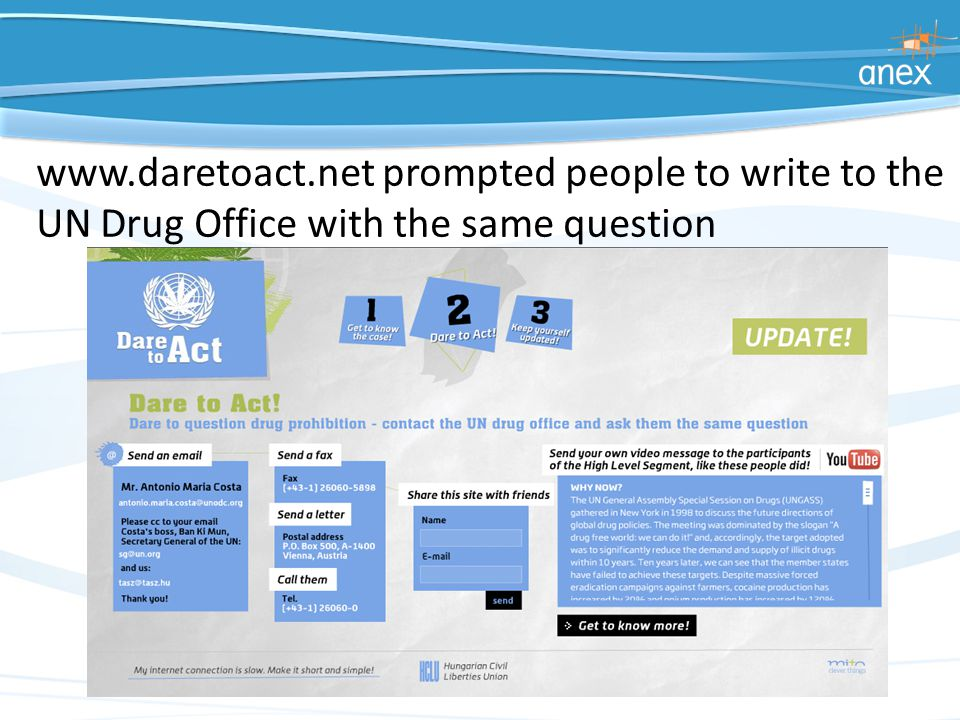 www.daretoact.net prompted people to write to the UN Drug Office with the same question
