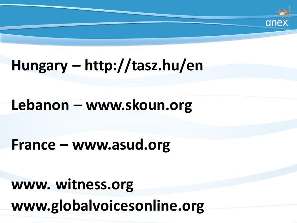 Hungary – http://tasz.hu/en Lebanon – www.skoun.org France – www.asud.org www.