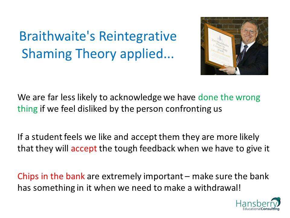 Braithwaite s Reintegrative Shaming Theory applied...