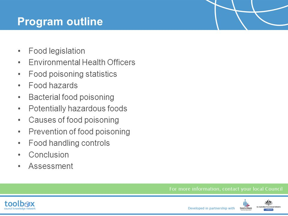 Food safety programs A food safety program is a documented system that identifies, monitors and controls food hazards to prevent contaminated food from reaching consumers.