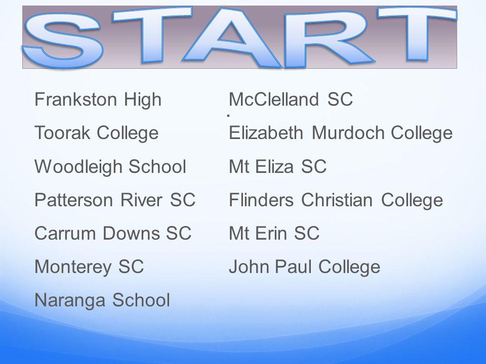. Frankston HighMcClelland SC Toorak CollegeElizabeth Murdoch College Woodleigh SchoolMt Eliza SC Patterson River SCFlinders Christian College Carrum
