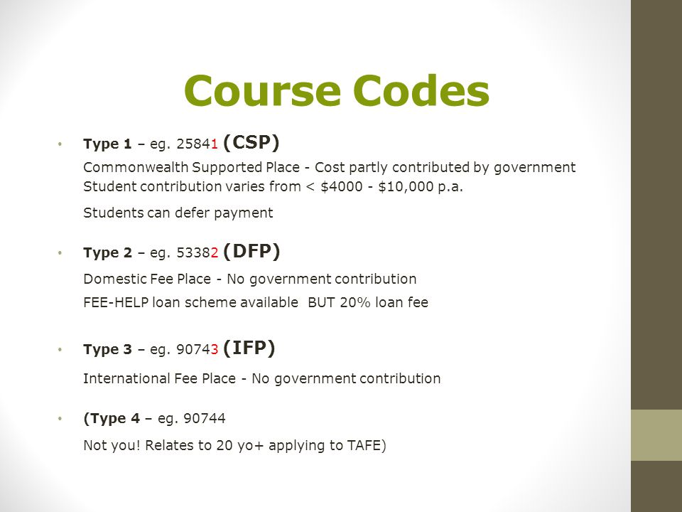 Course Codes Type 1 – eg.