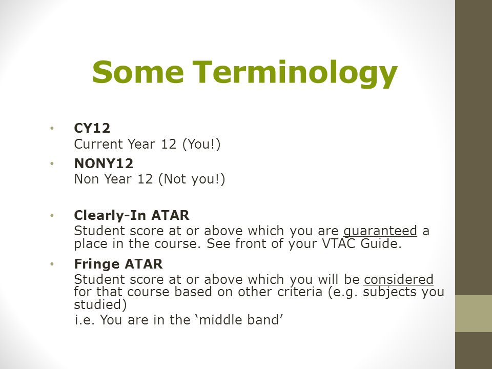 Some Terminology CY12 Current Year 12 (You!) NONY12 Non Year 12 (Not you!) Clearly-In ATAR Student score at or above which you are guaranteed a place in the course.