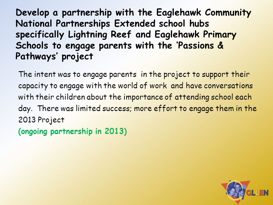 Develop a partnership with the Eaglehawk Community National Partnerships Extended school hubs specifically Lightning Reef and Eaglehawk Primary School