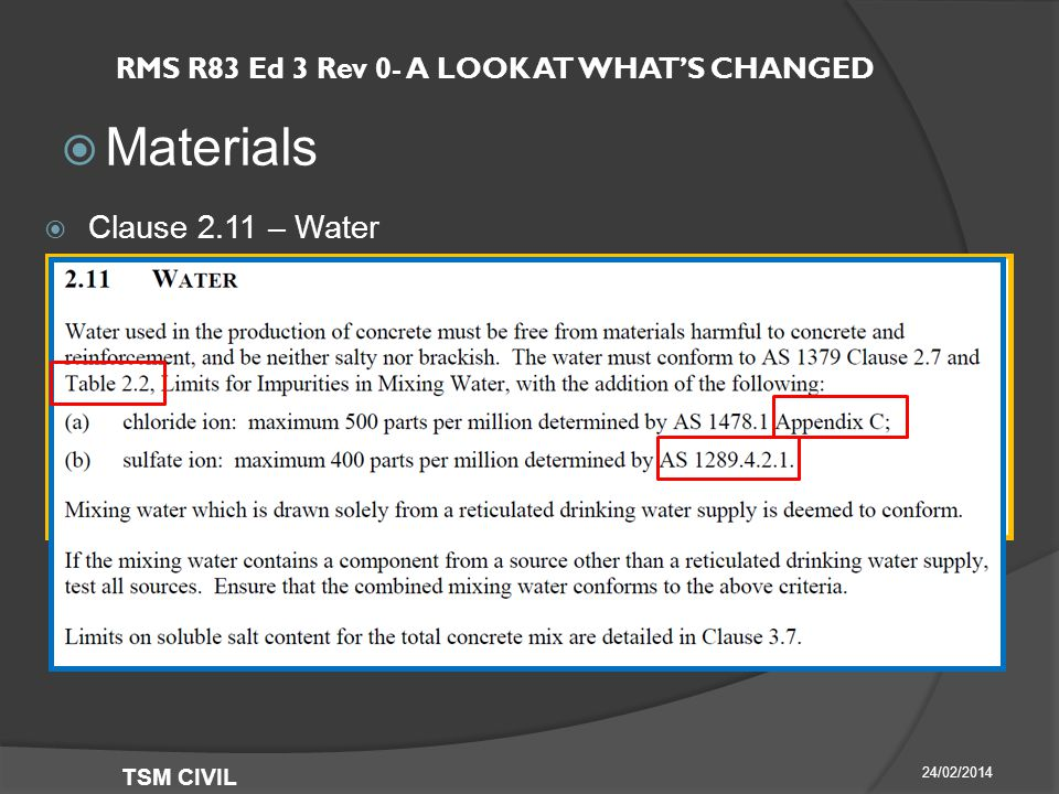 RMS R83 Ed 3 Rev 0- A LOOK AT WHAT'S CHANGED  Materials 24/02/2014 TSM CIVIL  Clause 2.11 – Water