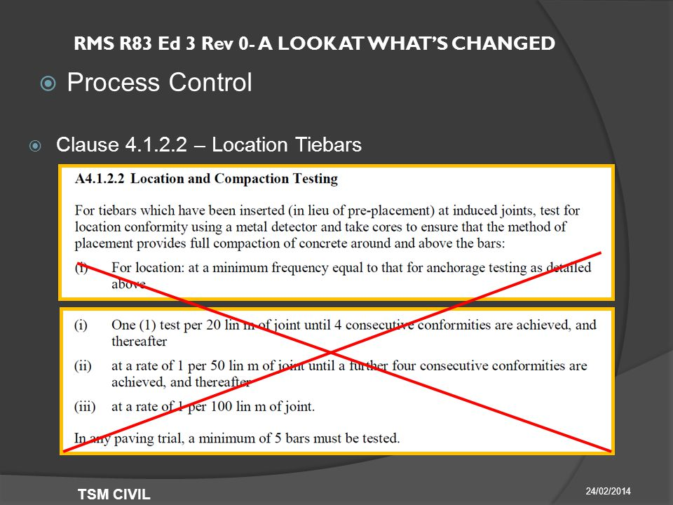 RMS R83 Ed 3 Rev 0- A LOOK AT WHAT'S CHANGED  Process Control 24/02/2014 TSM CIVIL  Clause – Location Tiebars