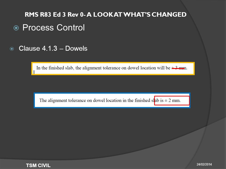 RMS R83 Ed 3 Rev 0- A LOOK AT WHAT'S CHANGED  Process Control 24/02/2014 TSM CIVIL  Clause – Dowels