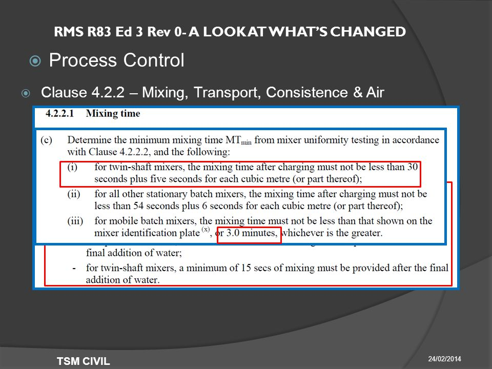 RMS R83 Ed 3 Rev 0- A LOOK AT WHAT'S CHANGED  Process Control 24/02/2014 TSM CIVIL  Clause – Mixing, Transport, Consistence & Air