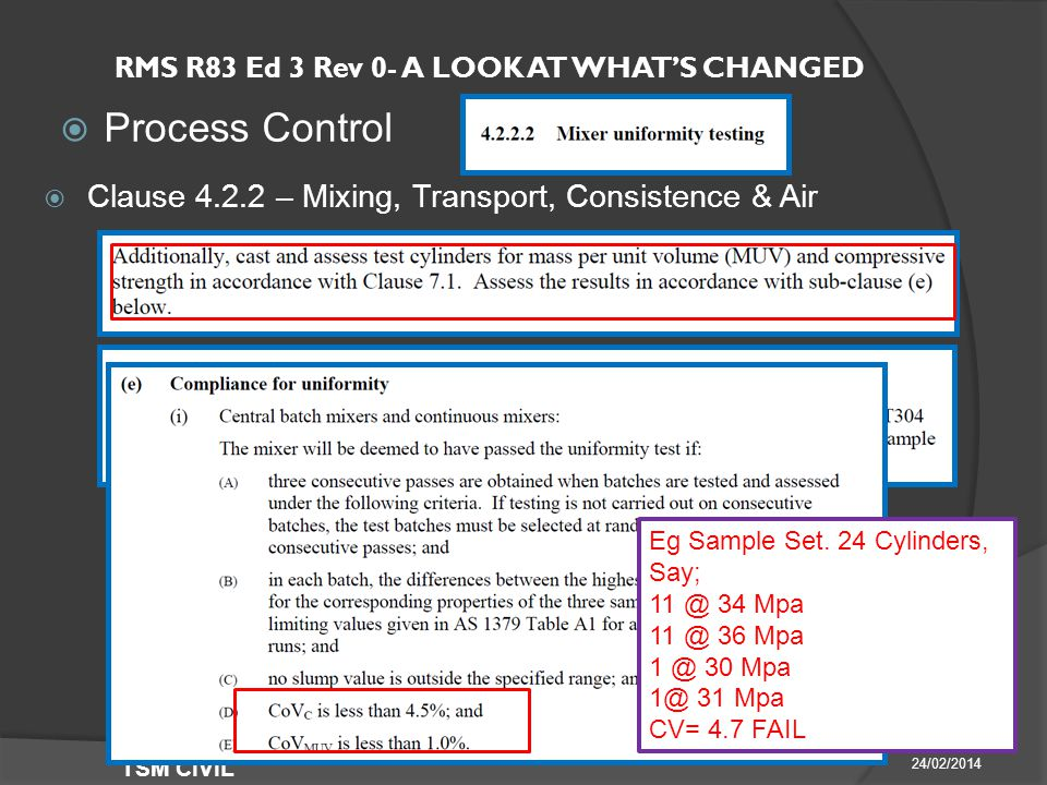 RMS R83 Ed 3 Rev 0- A LOOK AT WHAT'S CHANGED  Process Control 24/02/2014 TSM CIVIL  Clause – Mixing, Transport, Consistence & Air Eg Sample Set.