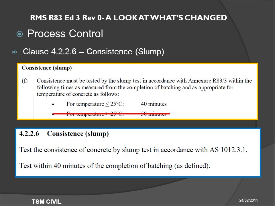 RMS R83 Ed 3 Rev 0- A LOOK AT WHAT'S CHANGED  Process Control 24/02/2014 TSM CIVIL  Clause – Consistence (Slump)