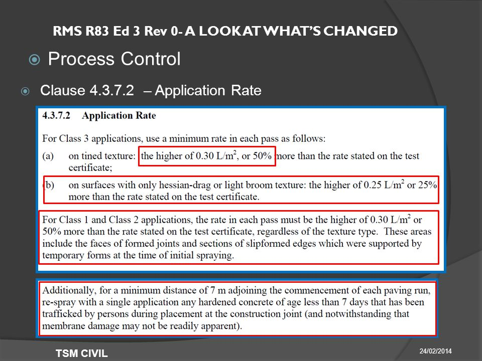 RMS R83 Ed 3 Rev 0- A LOOK AT WHAT'S CHANGED  Process Control 24/02/2014 TSM CIVIL  Clause – Application Rate