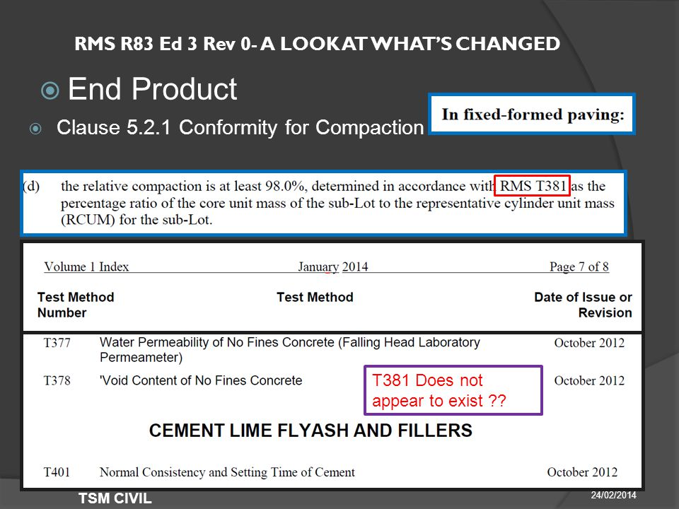 RMS R83 Ed 3 Rev 0- A LOOK AT WHAT'S CHANGED  End Product 24/02/2014 TSM CIVIL  Clause Conformity for Compaction T381 Does not appear to exist