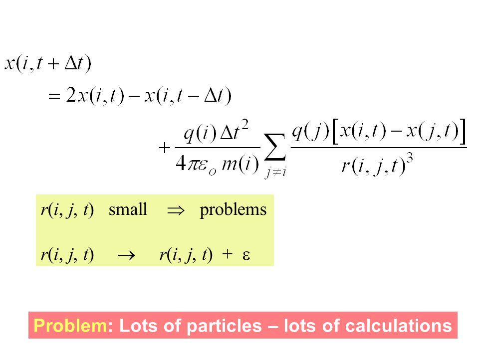 r(i, j, t) small  problems r(i, j, t)  r(i, j, t) +  Problem: Lots of particles – lots of calculations