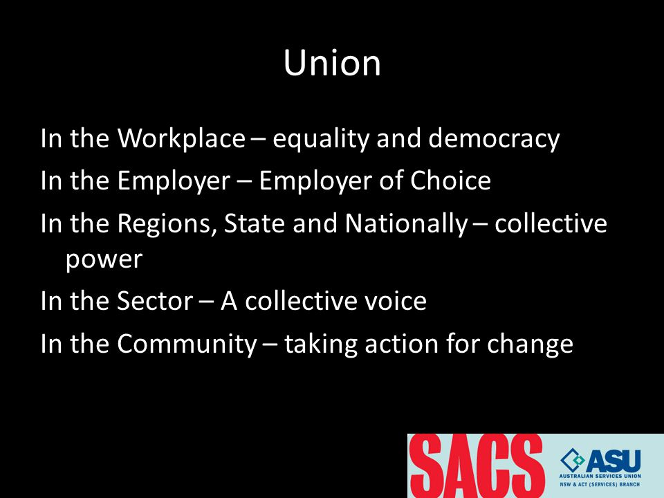 Union In the Workplace – equality and democracy In the Employer – Employer of Choice In the Regions, State and Nationally – collective power In the Sector – A collective voice In the Community – taking action for change
