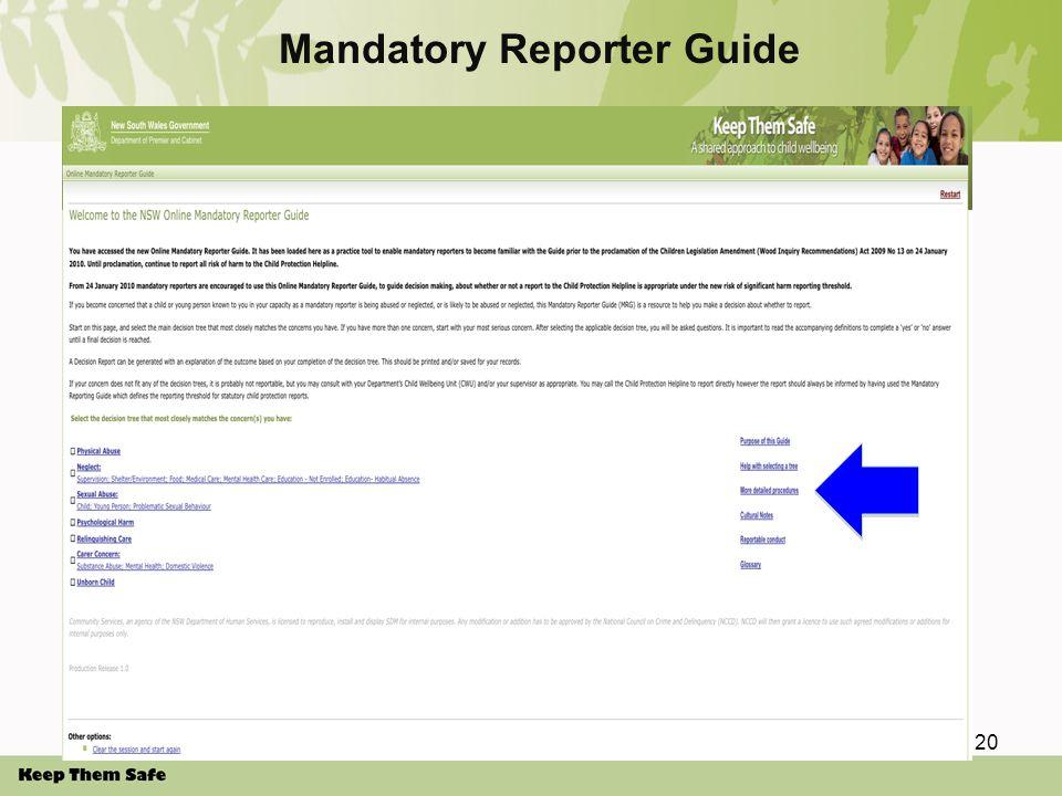 Mandatory Reporter Guide 20
