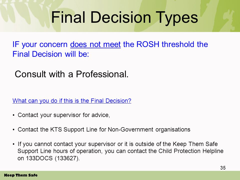 Final Decision Types IF your concern does not meet the ROSH threshold the Final Decision will be: Consult with a Professional.