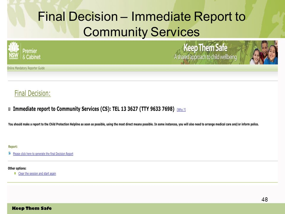 48 Final Decision – Immediate Report to Community Services