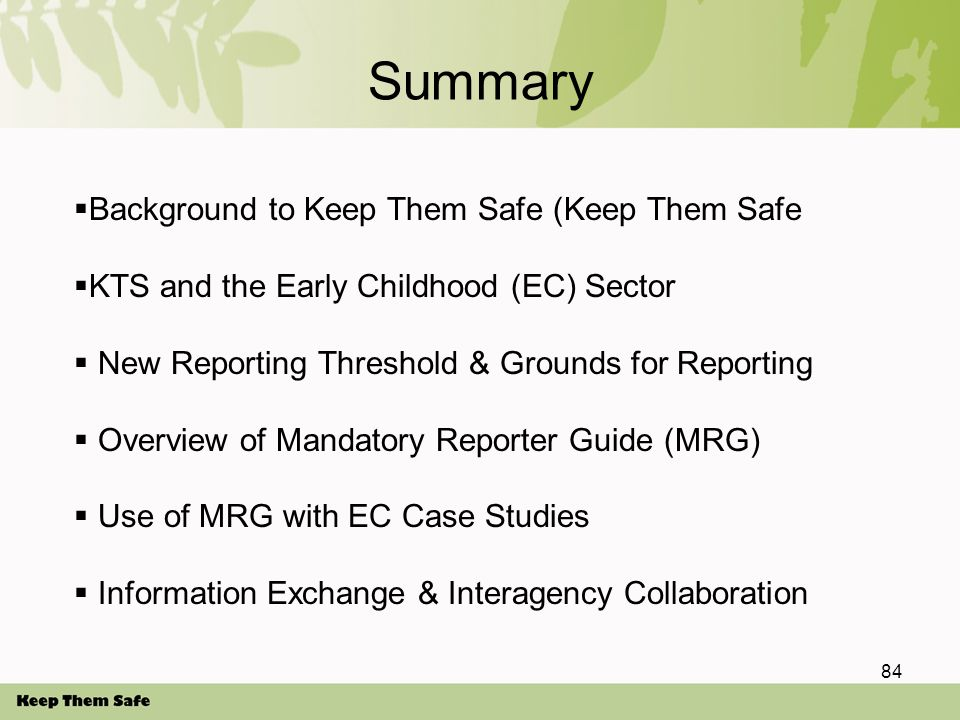 Summary 84  Background to Keep Them Safe (Keep Them Safe  KTS and the Early Childhood (EC) Sector  New Reporting Threshold & Grounds for Reporting  Overview of Mandatory Reporter Guide (MRG)  Use of MRG with EC Case Studies  Information Exchange & Interagency Collaboration