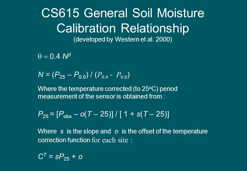 CS615 General Soil Moisture Calibration Relationship (developed by Western et al. 2000)  0.4 N  N = (P 25 – P 0.0 ) / ( P 0.4 - P 0.0 ) Where the