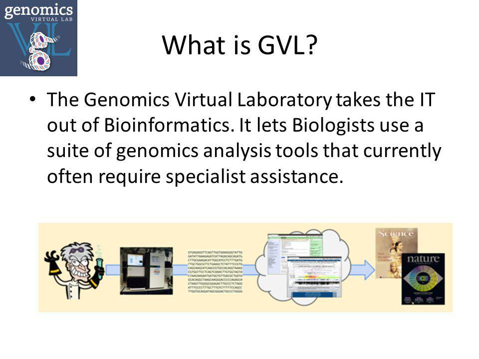 What is GVL.The Genomics Virtual Laboratory takes the IT out of Bioinformatics.