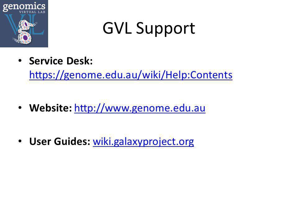 GVL Support Service Desk: https://genome.edu.au/wiki/Help:Contents https://genome.edu.au/wiki/Help:Contents Website: http://www.genome.edu.auhttp://www.genome.edu.au User Guides: wiki.galaxyproject.orgwiki.galaxyproject.org