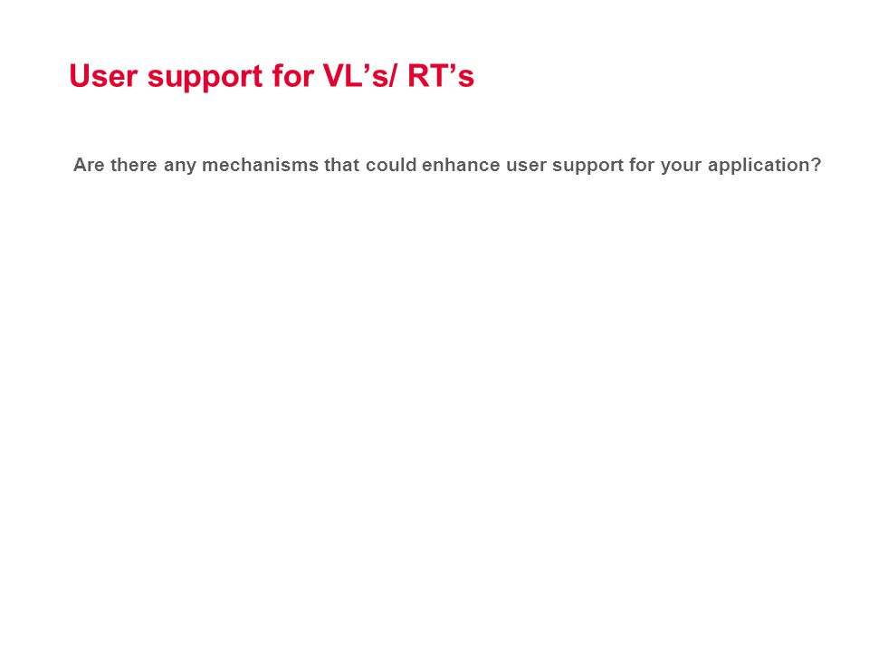 User support for VL's/ RT's Are there any mechanisms that could enhance user support for your application