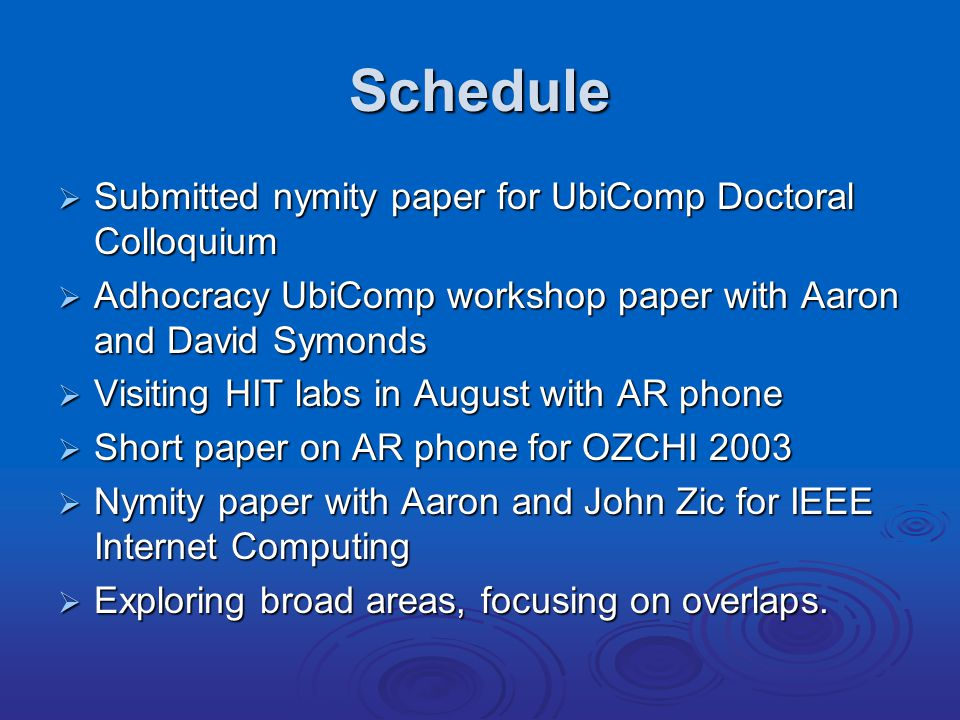 Schedule  Submitted nymity paper for UbiComp Doctoral Colloquium  Adhocracy UbiComp workshop paper with Aaron and David Symonds  Visiting HIT labs in August with AR phone  Short paper on AR phone for OZCHI 2003  Nymity paper with Aaron and John Zic for IEEE Internet Computing  Exploring broad areas, focusing on overlaps.