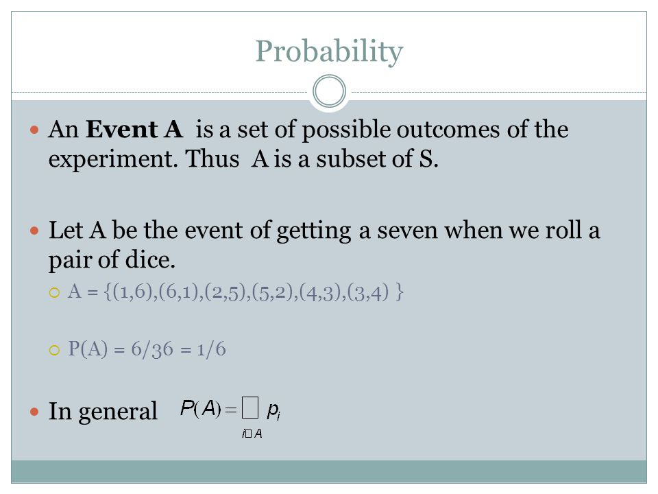 Probability An Event A is a set of possible outcomes of the experiment. Thus A is a subset of S. Let A be the event of getting a seven when we roll a