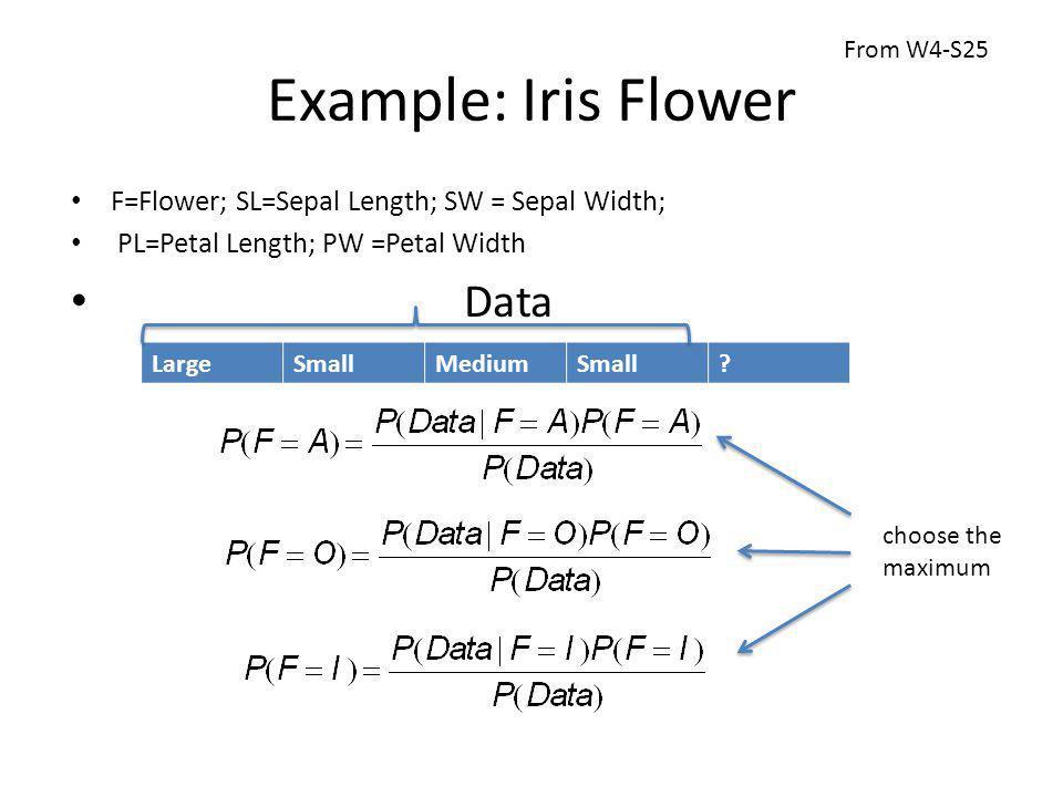 Example: Iris Flower F=Flower; SL=Sepal Length; SW = Sepal Width; PL=Petal Length; PW =Petal Width Data LargeSmallMediumSmall.