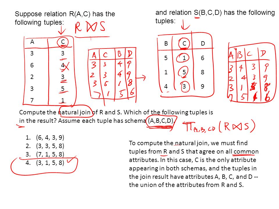AC 33 64 23 35 71 Suppose relation R(A,C) has the following tuples: BCD 516 158 439 and relation S(B,C,D) has the following tuples: Compute the natural join of R and S.