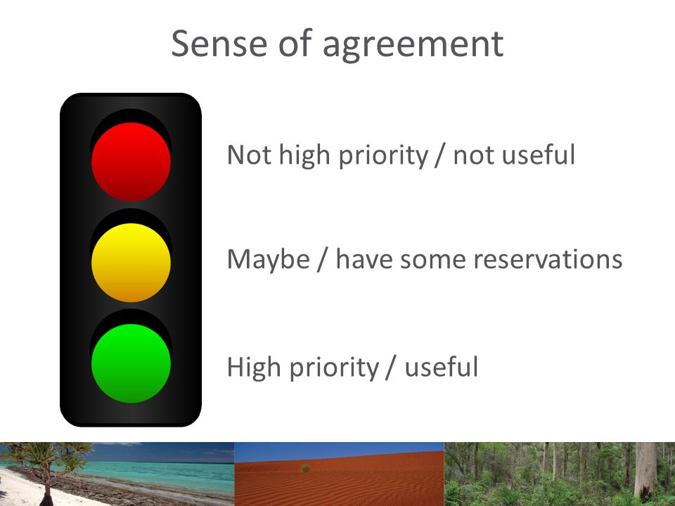 Sense of agreement Not high priority / not useful Maybe / have some reservations High priority / useful