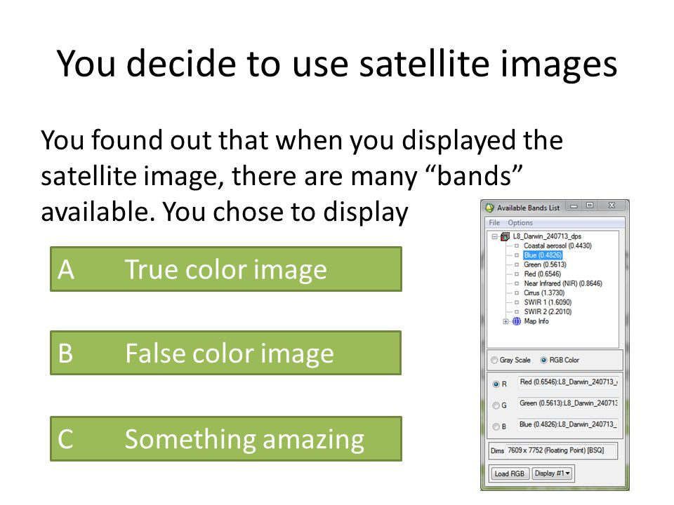 You decide to use satellite images You found out that when you displayed the satellite image, there are many bands available.