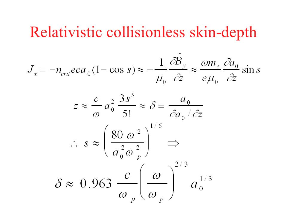 Relativistic collisionless skin-depth