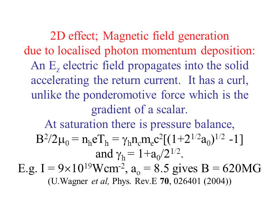 2D effect; Magnetic field generation due to localised photon momentum deposition: An E z electric field propagates into the solid accelerating the ret